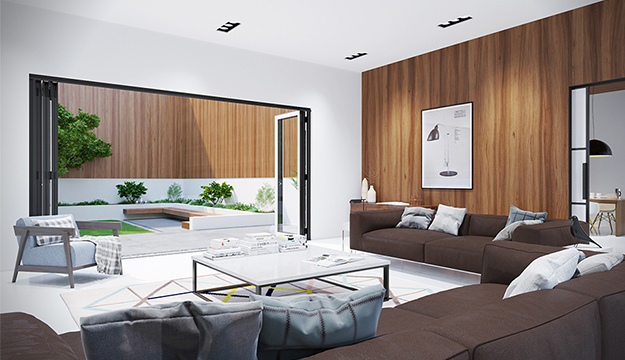 modern living room with patio doors