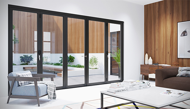 black bi-fold patio doors
